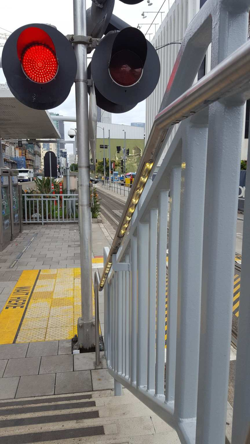 New LED lights on the stairs at Pico Station to warn riders that a train is approaching. Photo by Anna Chen/Metro.