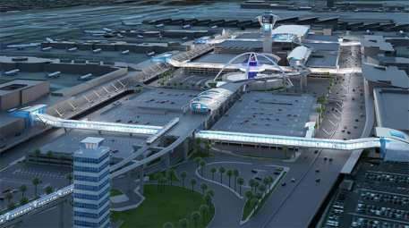 Los Angeles World Airports rendering of the people mover route looking toward the terminal horseshoe.