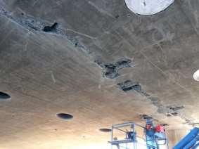 Concrete repair at Aviation/Century Bridge.