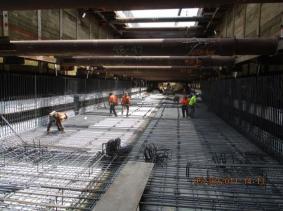 Installation of invert rebar north of 63rd St.