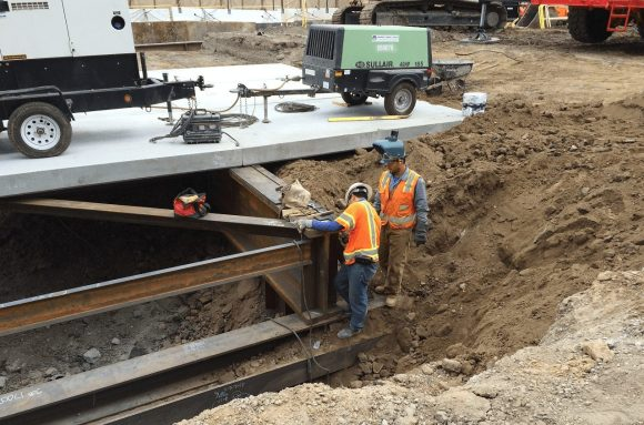 Photos of the decking work that has been taking place recently in the La Cienega staging yard. Photos: Metro.