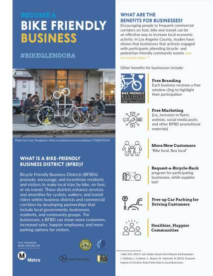 These fliers for Glendora help explain Bike Friendly Business Districts.