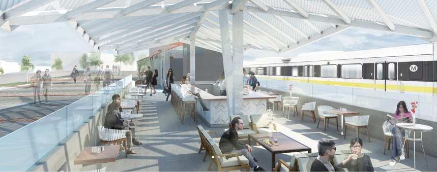 Rendering of Monrovia Santa Fe Depot restaurant patio by Samuelson & Fetter.