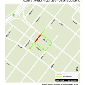 Flower St weekend closures, July 2018 - Detour C