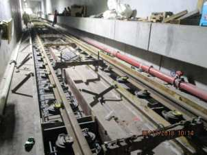 Installation of plinth rebar for track placement in the southbound tunnel in the underground section of the line.