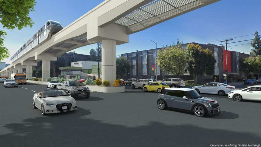 A rendering of the monorail option at Sepulveda and Weddington in the Valley.