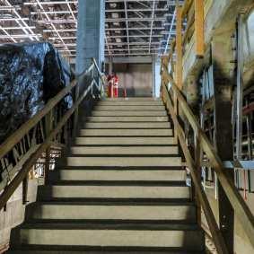 Stairway from platform to mezzanine level at MLK Jr. Station.