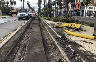 Rails being replaced along Long Beach Boulevard earlier this year.
