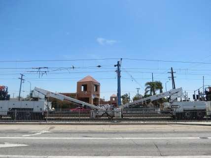 Overhead wire work near Vernon Station.