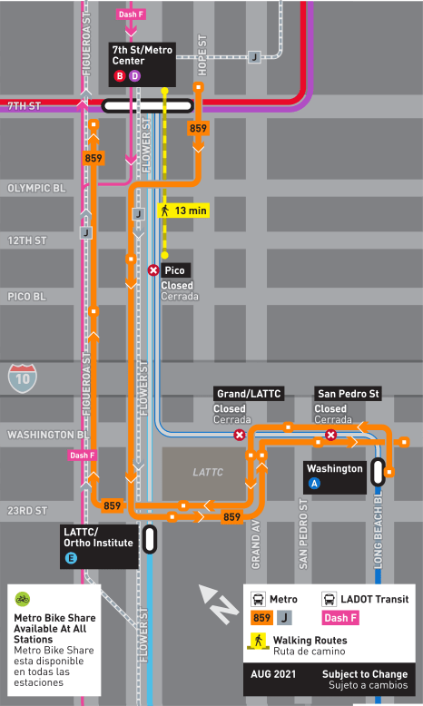 Long route map, select weekends only. Check schedule for when this shuttle route is in service.