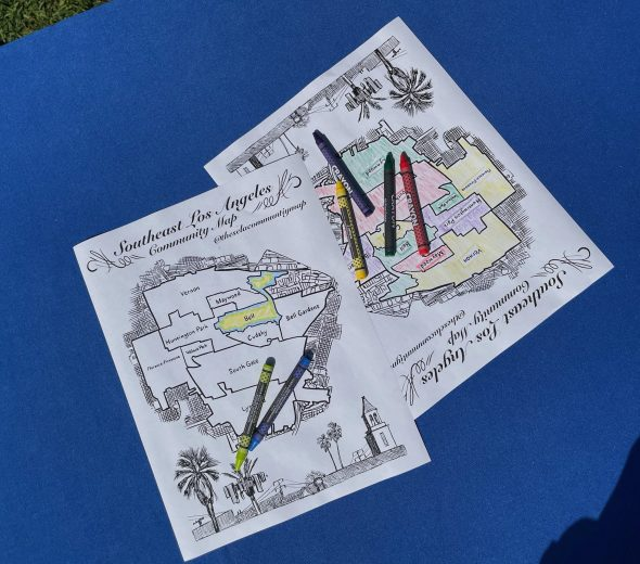 The SELA Community Map coloring pages created by David Martinez accompany the project and offer a fun keepsake.
