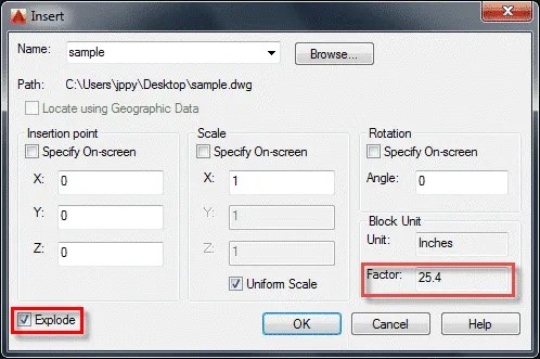 Convert units of drawing in AutoCAD