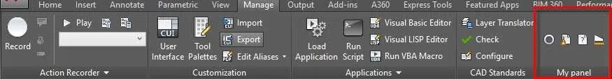 create a ribbon panel in AutoCAD