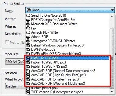 printer menu autocad