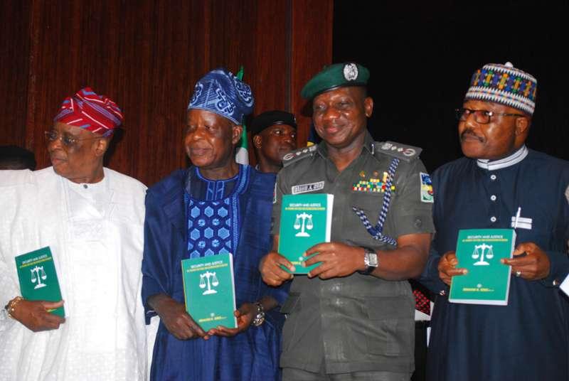 Chief Segun Osoba, Dr. Mike Okiro, IGP Ibrahim Idris and Major General Tanko Nuhu