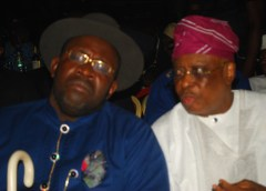 Seriaka Dickson, governor of Bayelsa State and Chief Olusegun Osoba, former governor of Ogun State