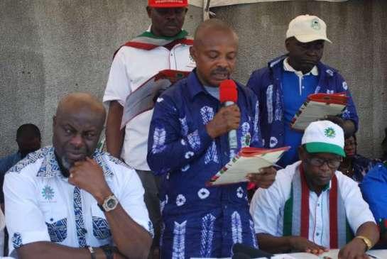 Mr. Joe Ajaero,comrade Igwe Achese and comrade Kadiri Kasumu