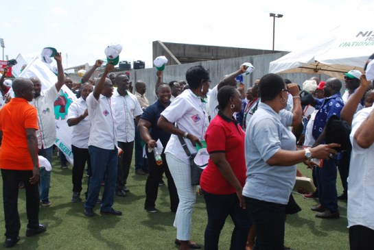 Cross-section of workers marching