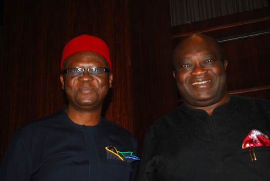 Chief Charles Anudu and Dr. Okezie Ikpeazu,governor of Abia State