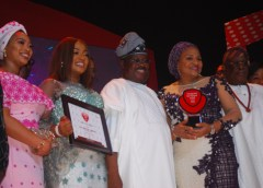 Sen. Abiola Ajimobi (middle} received the vanguard governor of the year award being flanked by others
