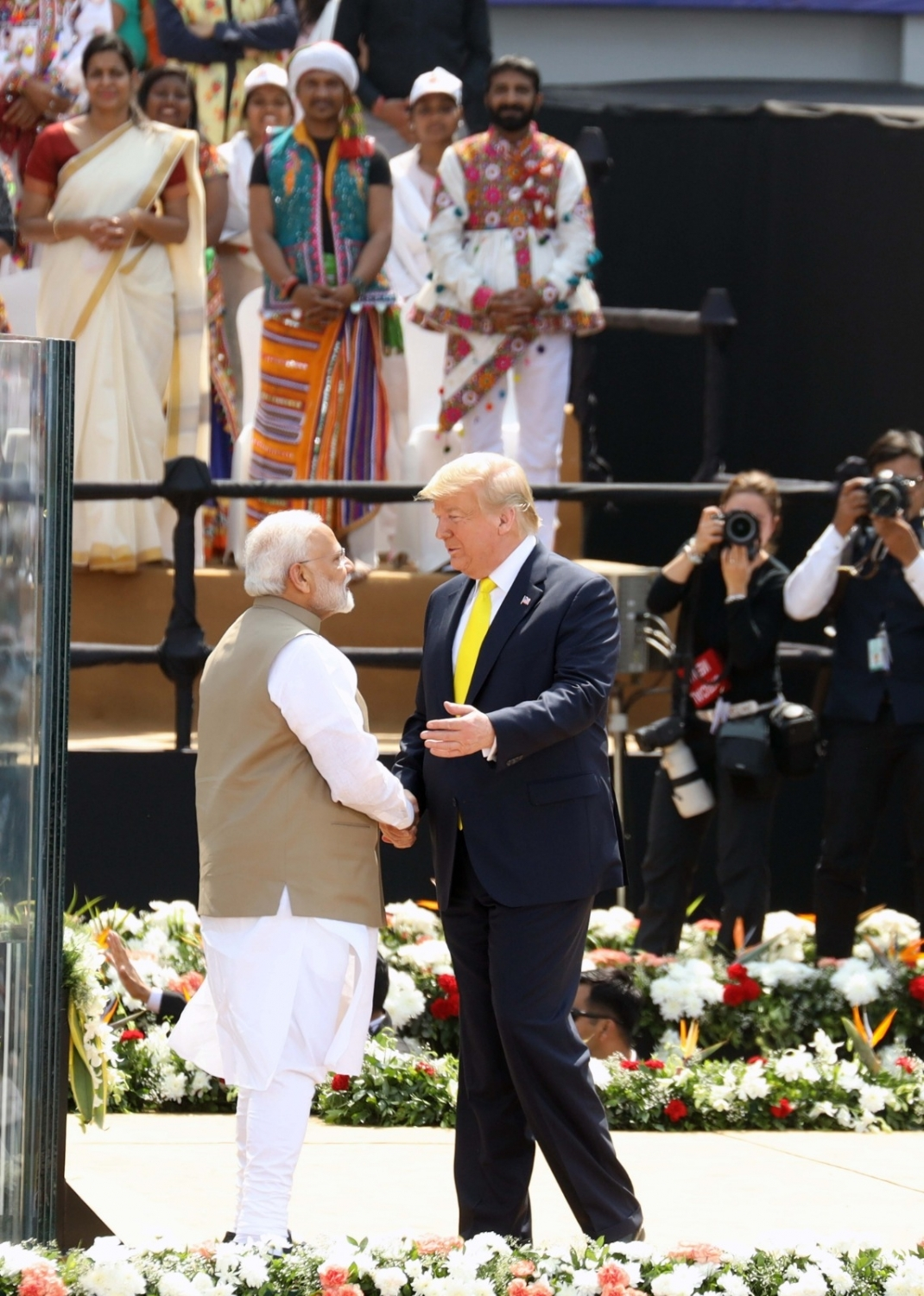 Ahmedabad: Prime Minister Narendra Modi and US President Donald Trump during 'Namste Trump' mega event at Motera cricket stadium in Ahmedabad on Feb 24, 2020. (Photo: IANS)