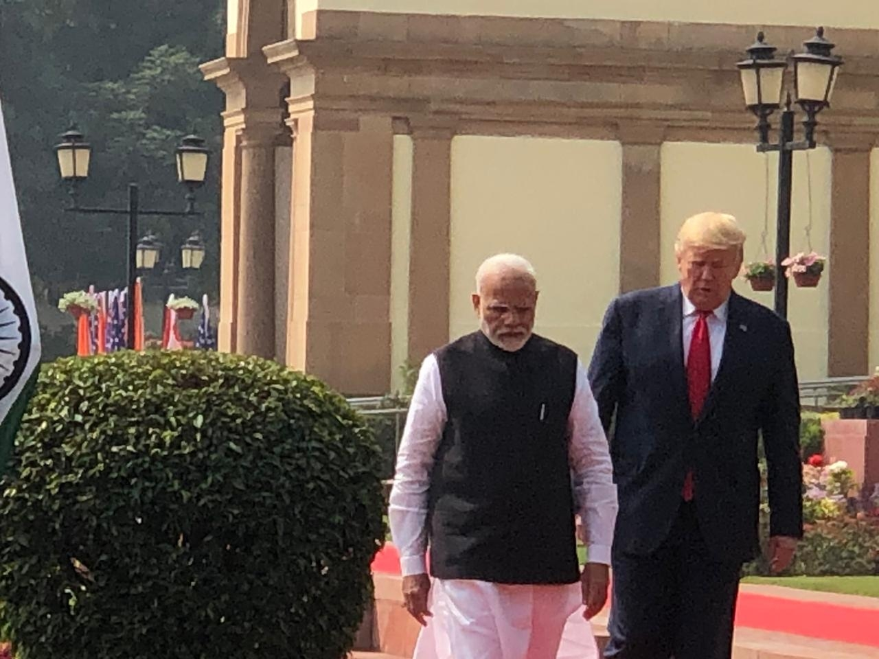 New Delhi: Prime Minister Narendra Modi receives US President Donald Trump at the Hyderabad House in New Delhi on Feb 25, 2020. (Photo: IANS)