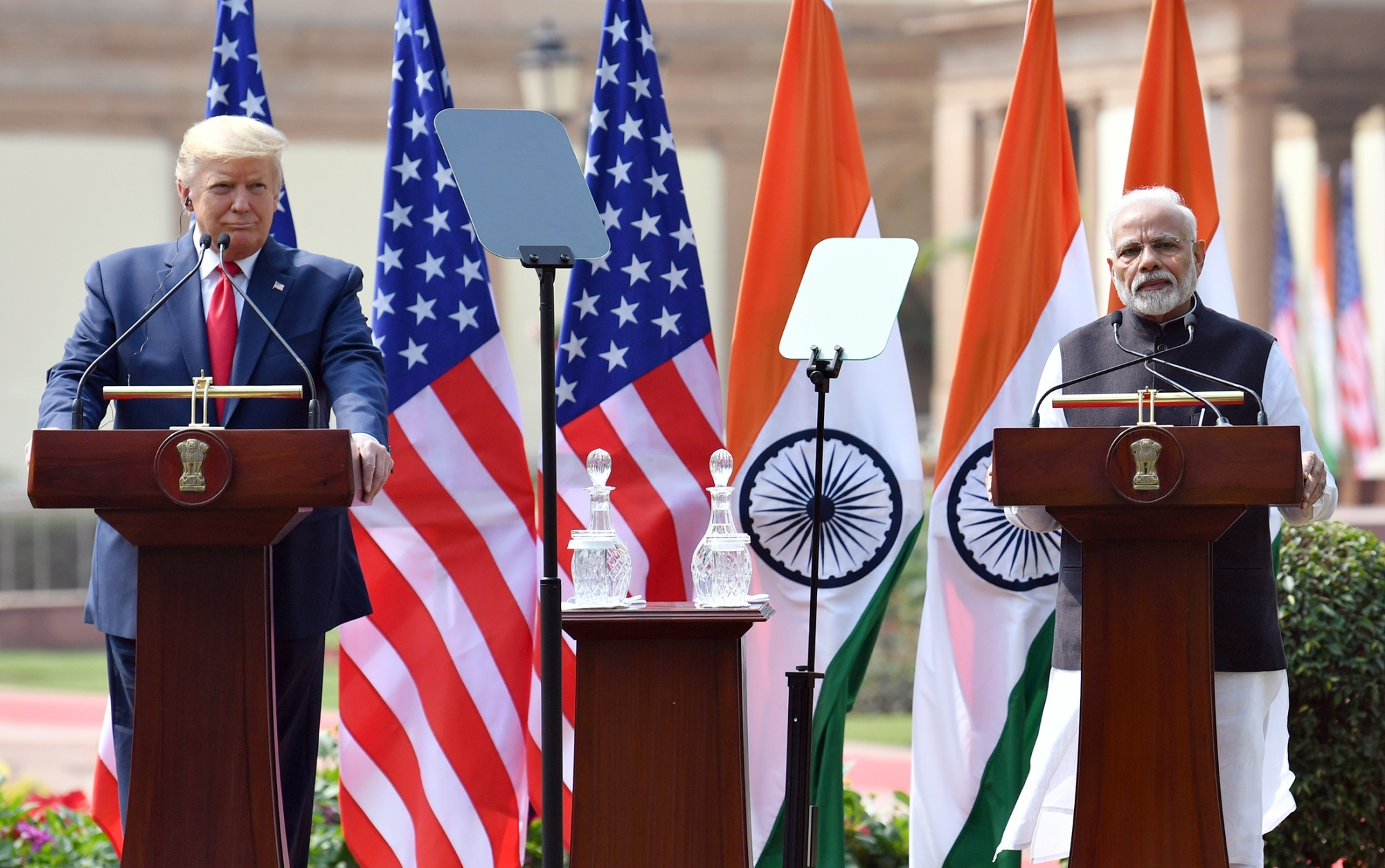 New Delhi: Prime Minister Narendra Modi and US President Donald Trump address Joint Press Meet at Hyderabad House in New Delhi on Feb 25, 2020. (Photo: IANS/PIB)