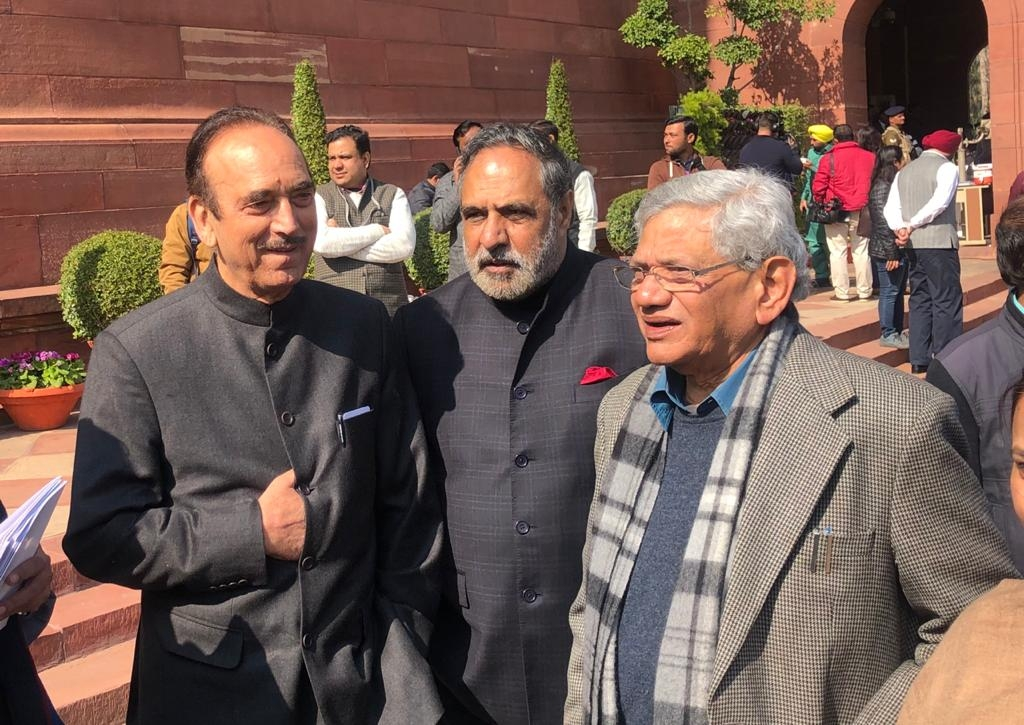 New Delhi: Congress leaders Ghulam Nabi Azad, Anand Sharma and CPI(M) General Secretary Sitaram Yechury during the Budget session of Parliament, in New Delhi on Jan 31, 2020. (Photo: IANS)