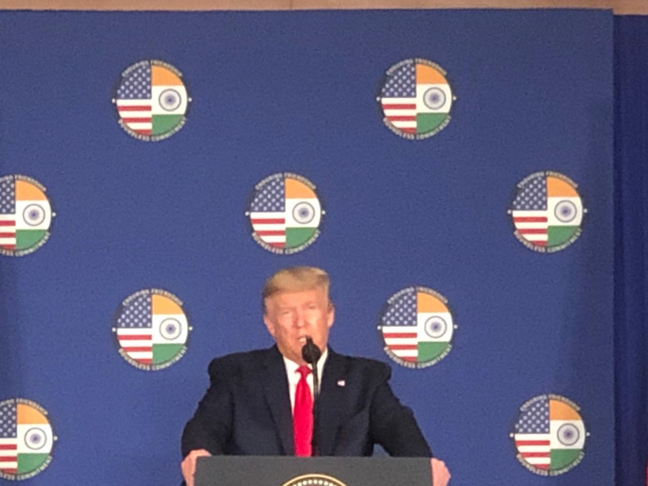 New Delhi: US President Donald Trump briefs the media, in New Delhi on Feb 25, 2020. (Photo: IANS)