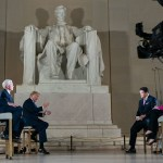 After stopping task force briefings at the White House, President Trump gave an interview to Fox News in Washington DC's Lincoln Memorial on Sunday.