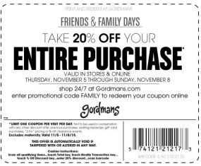 Gordmans Friend and Family Discount
