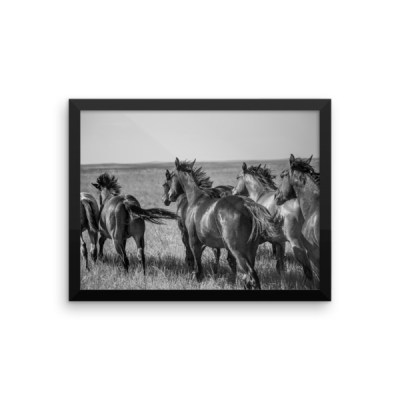 """Run On Boys"" Black and White Framed poster"