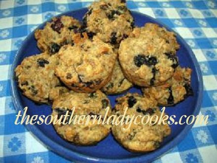 Blueberry Bran Muffins with Raisins and Nuts