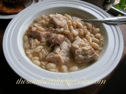 Crockpot Pork Roast and white beans