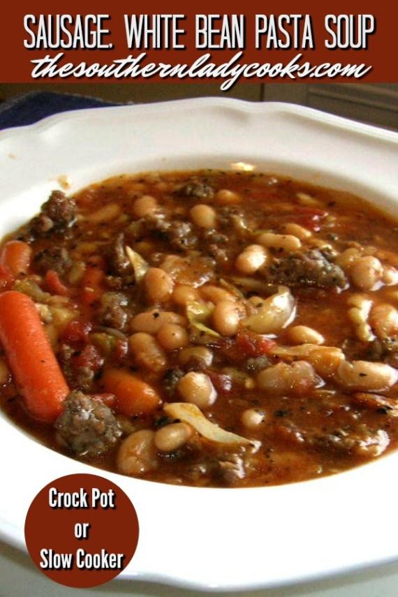 Sausage, White Bean Pasta Soup