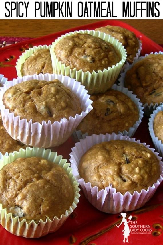 Spicy Pumpkin Oatmeal Muffins