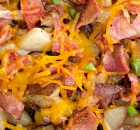 CHEESY BACON SKILLET FRIED POTATOES