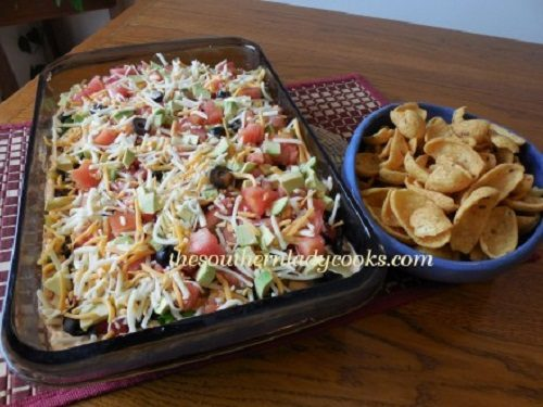 Best mexican food recipes the southern lady cooks layered taco dip mexican cornbread this recipe forumfinder Gallery
