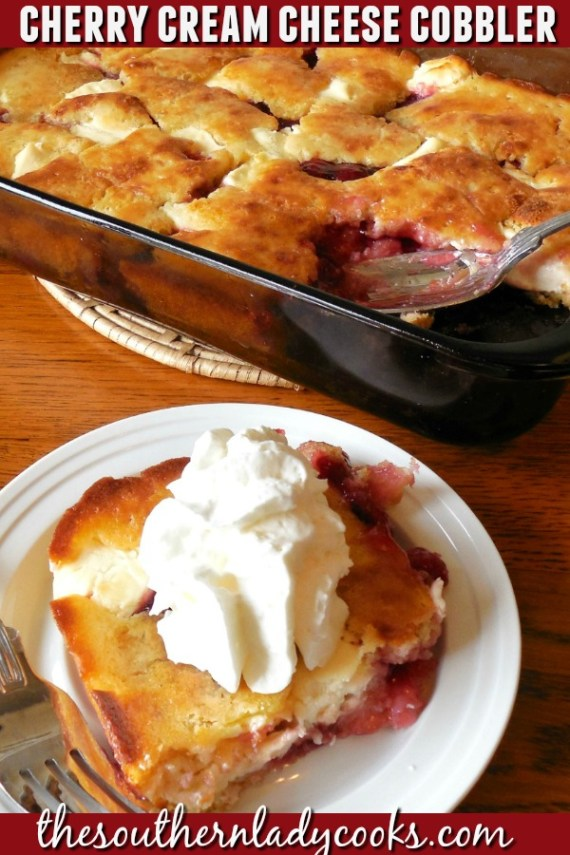 Cherry Cream Cheese Cobbler - The Southern Lady Cooks