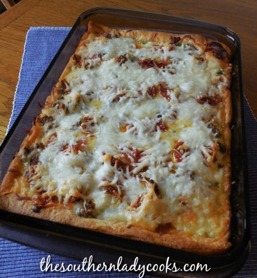Breakfast Crescent Pizza - The Southern Lady Cooks