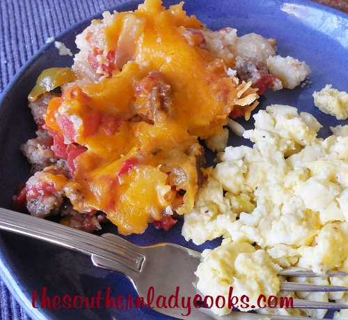 Sausage, Tomato and Cheese Grits Casserole