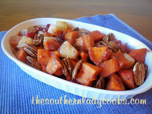 Crock Pot Sweet Potatoes, Pineapple and Cranberries