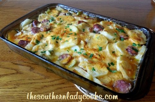 Cheesy Scalloped Potatoes and Sausage - TSLC