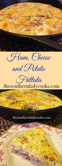 The Southern Lady Cooks Ham, Cheese and Potato Frittata