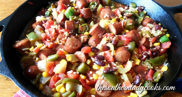 ANDOUILLE SAUSAGE RICE SKILLET MEAL