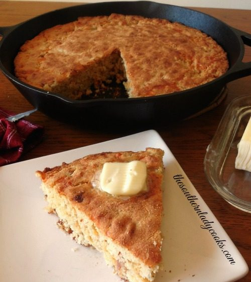 Skillet Cornbread with Bacon and Cheddar