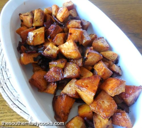 Roasted maple bacon sweet potatoes