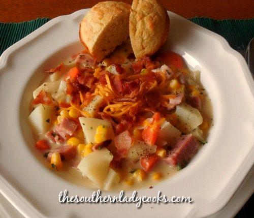 Ham Corn Chowder-The Southern Lady Cooks