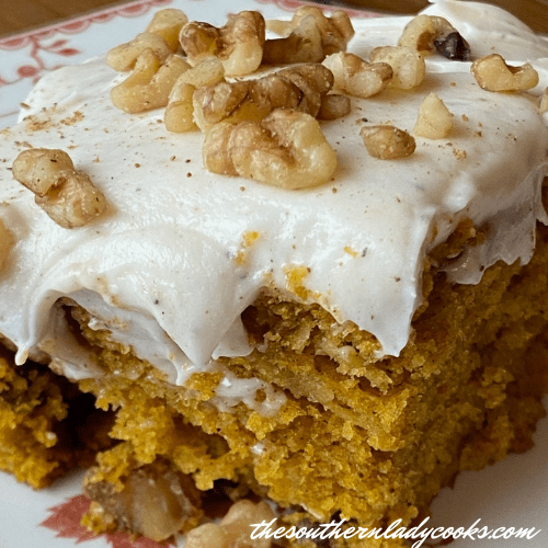 Pumpkin Apple Cake with Nutmeg Frosting - The Southern Lady Cooks