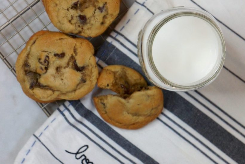 cookies and milk with anthropologie towel